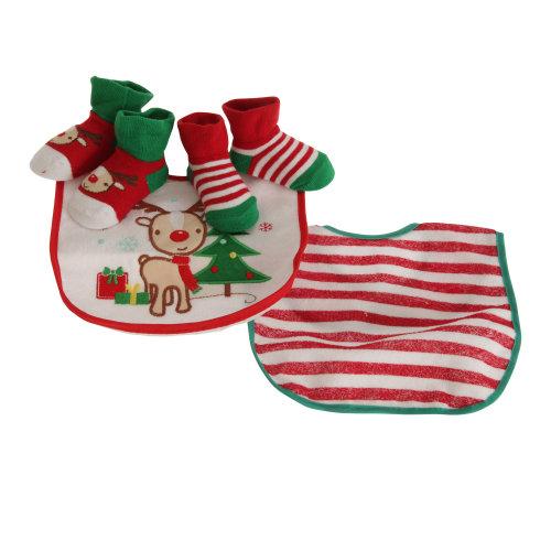 Nursery Time Baby Boys/Girls Rudolph The Reindeer Christmas Gift Set (Bibs & Socks)