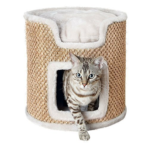 Trixie Cat Tower Ria Cuddly Cave Diameter 37 cm/37 cm - Light Grey Cats New -  trixie cat tower ria light grey cats new