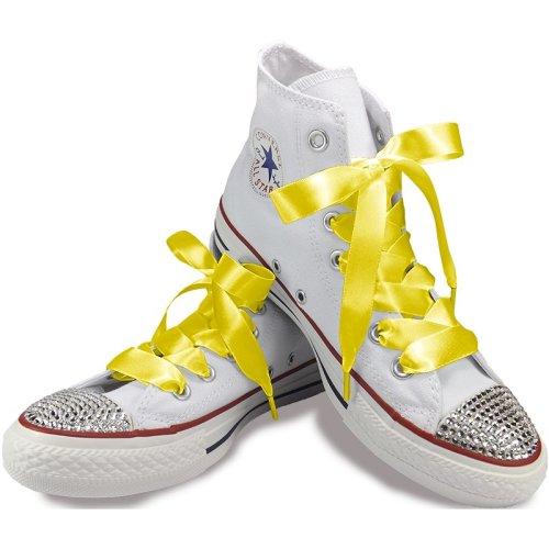 Lemon Yellow Satin Ribbon Shoelaces For Trainers Shoes