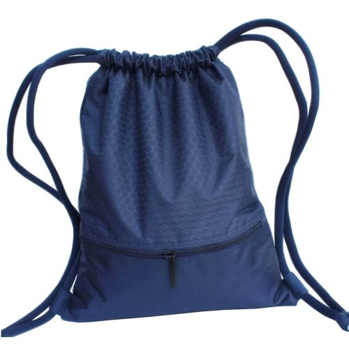 Foldable Basketball Backpack Drawstring Bag Swimming Bag Gym Bag, Navy