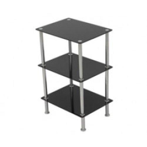 King Black Glass 3 Tier Modern Organisation Rack, Shelving Shelf Unit, Shelf Width 40cm x 30cm