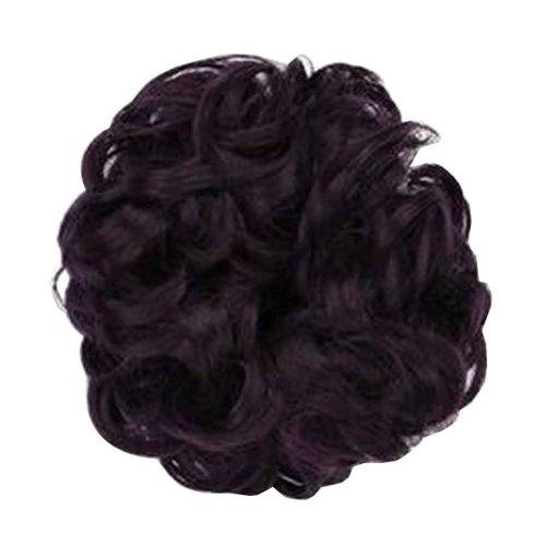 Fake Hair Bun with Elastic Hair Band, Easy to Wear [Dark Purple]
