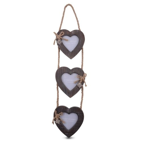 Triple Wooden Heart Photo Frame on Jute Rope Hanger