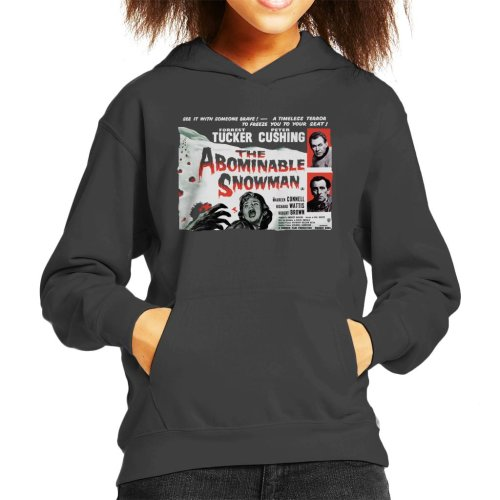 (Large (9-11 yrs), Charcoal) Hammer Horror Films Abominable Snowman Movie Poster Kid's Hooded Sweatshirt