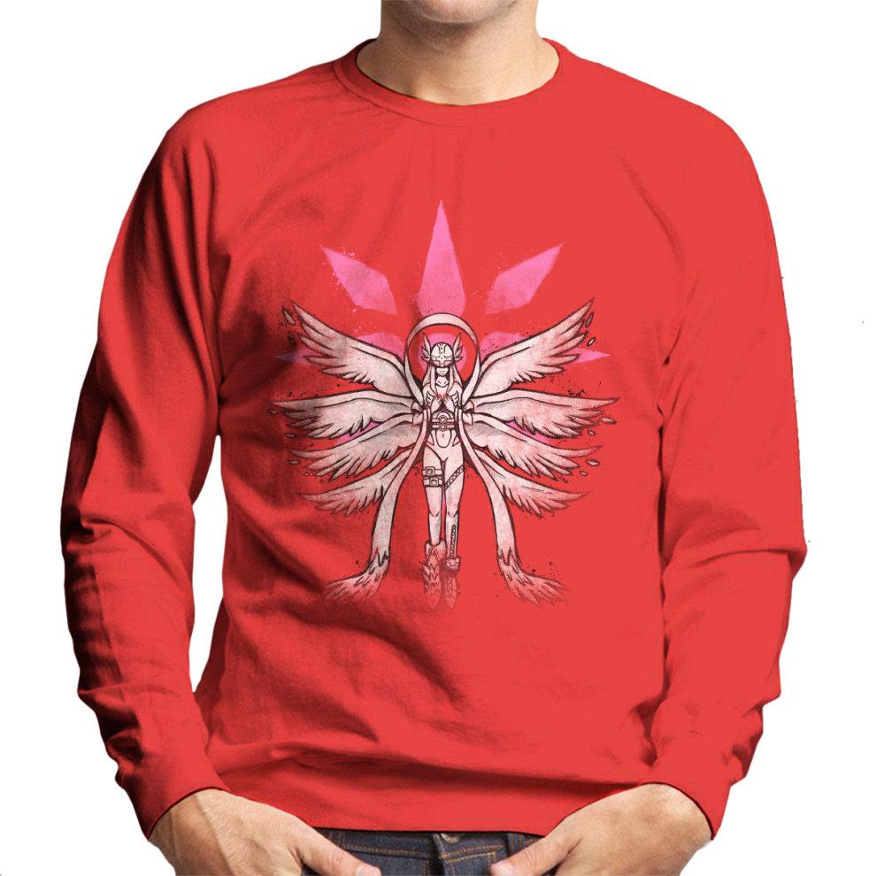 (XX-Large, Red) Digimon Angewomon Grafitti Angel Of Light Men's Sweatshirt