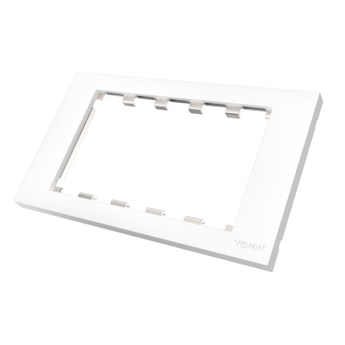 Vision DOUBLE-GANG UK SURROUND - WHITE, Double-gang frame which accommodates five modules. Fits to any stan