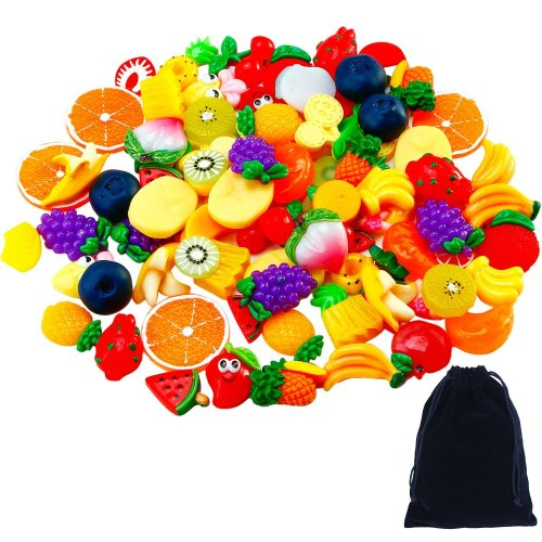 Aneco 60 Pieces Slime Charms Mixed Resin Fruit Beads Slime Bead Making Supplies with Drawstring Pouch for DIY Crafts Scrapbooking