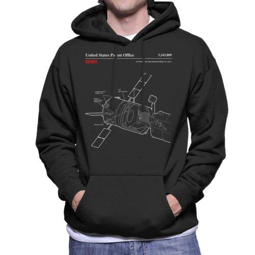 (Large, Black) NASA ISS Automated Transfer Vehicle Blueprint Men's Hooded Sweatshirt