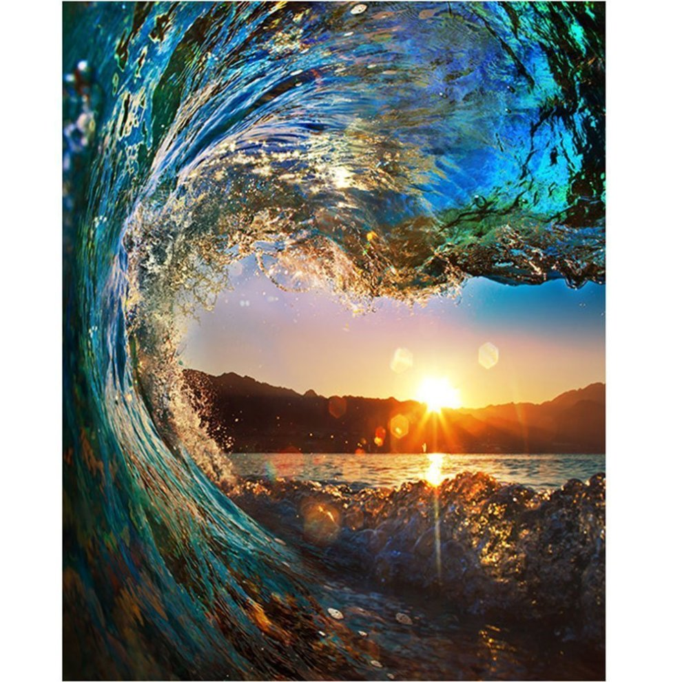 e7c5217f DIY Digital Canvas Oil Painting Gift for Adults Kids Paint by Number Kits  Home Decorations- Surfing 16*20 inch