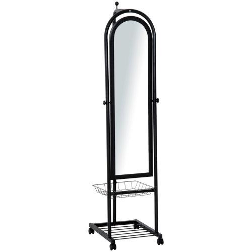 HOMCOM Free Standing Dressing  Mirror  Adjustable Tilt with Removable Basket Universal Wheels Floor  Full Length Bedroom Hallway Black