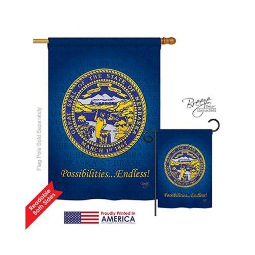Breeze Decor 08144 States Nebraska 2-Sided Vertical Impression House Flag - 28 x 40 in.
