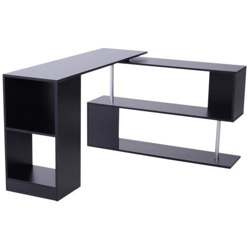 sports shoes 0a5c3 5948e HOMCOM 360° Rotating Corner Desk Storage Shelf Combo Workstation L-Shaped -  Black