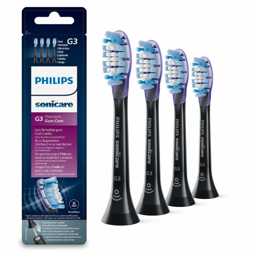 Philips Sonicare Premium Gum Care BrushSync Enabled Replacement Brush Heads, 4pk, Black - HX9054/33