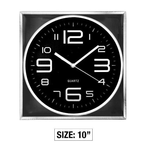 10 Inch Round Stylo Wall Clock - Black Household Bedroom