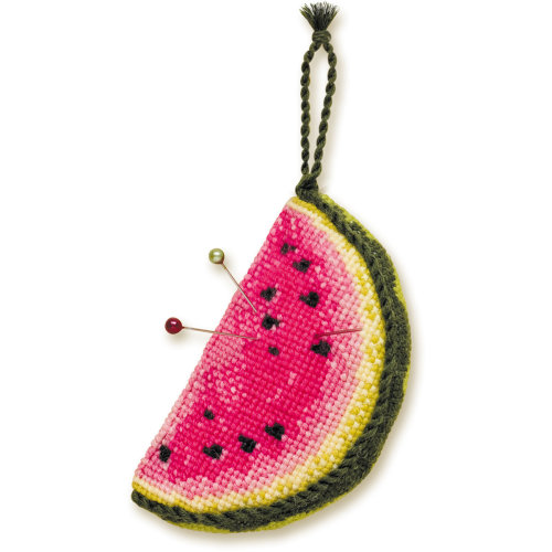 "Watermelon Pincushion Counted Cross Stitch Kit-3.5""X2""X1.25"" 16 Count"