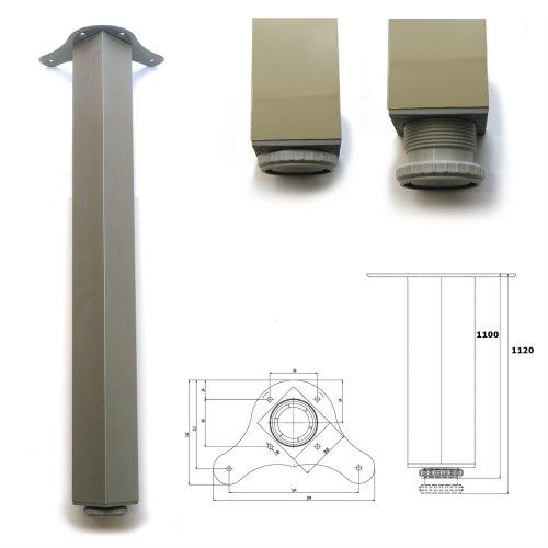 4 x 1100mm Aluminium Breakfast Bar Worktop Support Table Leg Square 65mm Dia