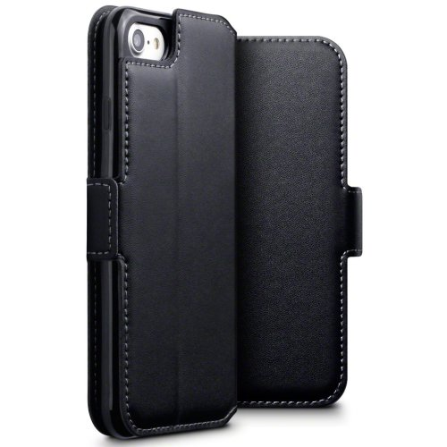 official photos a4d01 6e7ca TERRAPIN iPhone 8 Case iPhone 8 / iPhone 7 GENUINE LEATHER Low Profile  Wallet Case - Slim Fit - Viewing Stand - Card Slots - Black