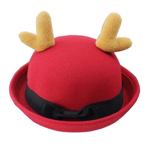 Lovely Baby Woolen Hat Children Bucket Hat Bowler Hat Antlers Red