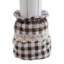 Set of 8 Linen Furniture Socks Chair Leg Floor Protector Pads, Coffee Lattice