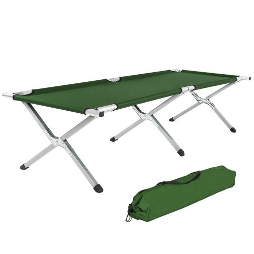 3 camping beds made of aluminium green