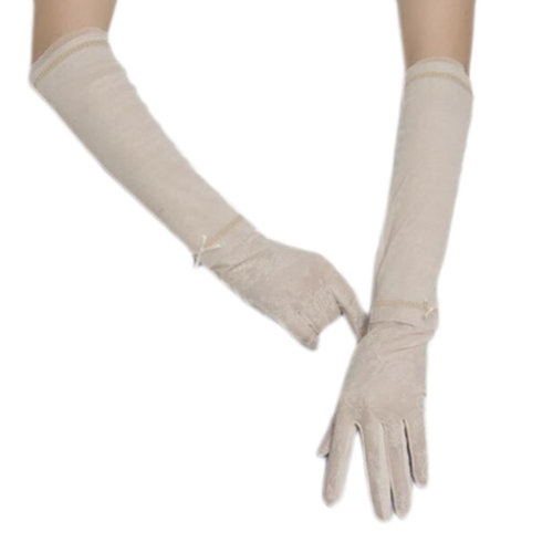 New Lace Outdoor Sunscreen Clothing Women Gloves Breathable Thin Sun Protective Sleeves-Beige