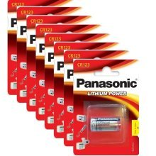 8 x Panasonic CR123A 3V Lithium Photo Battery 123 CR123 DL123 CR17345 Camera
