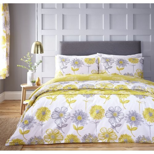 Catherine Lansfield Banbury Floral Easy Care King Duvet Set Yellow