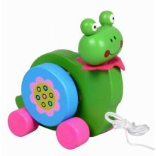 Lovely Wooden Push & Pull Toy Pull-Along Wagon Vehicle Green