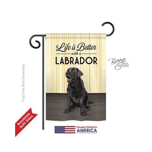 Breeze Decor 60009 Pets Life is Better Lab 2-Sided Impression Garden Flag - 13 x 18.5 in.