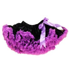 Lovely Two-Tone [Black&Purple] Kids 6-7Yrs Dance Skirt Yarn Tutu Skirt One Size