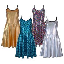 Shiny Metallic Skater Dress