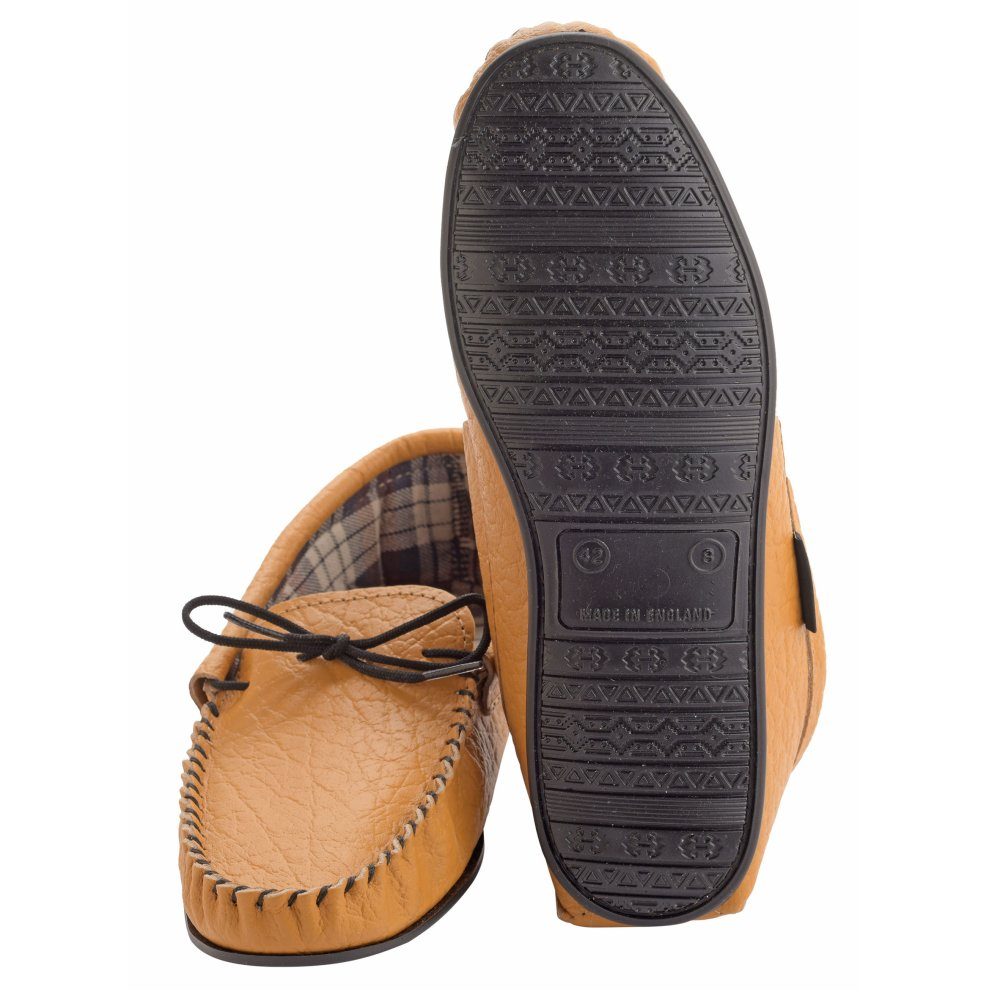 73053d23093 ... Lambland Mens Fabric Lined Genuine Leather Moccasin Slippers - 3.