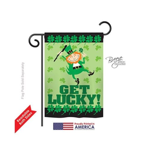Breeze Decor 52028 St Pats Get Lucky 2-Sided Impression Garden Flag - 13 x 18.5 in.
