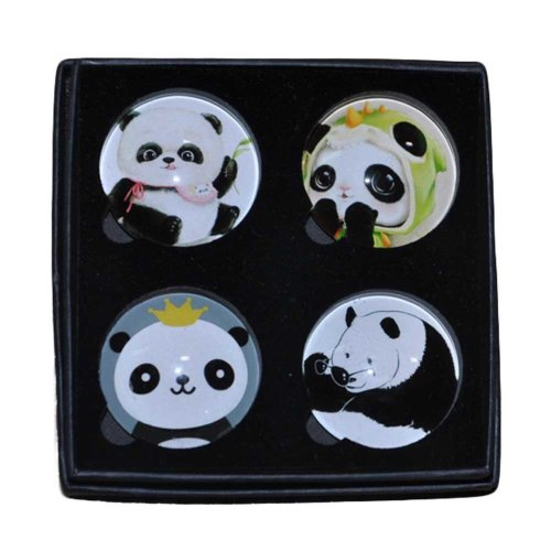 4 Pieces Cute Panda Magnetic Stickers Glass Refrigerator Magnets Crystal Magnet