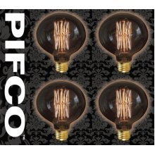4 X PIFCO G95 40 Watt E27 ES Vintage Large Globe Retro Light Bulbs