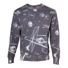 Star Wars Adult Male Imperial Fleet TIE Fighters Sublimation Sweater S - Grey