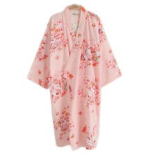 Japanese Style Women Thin Cotton Bathrobe Pajamas Kimono Skirt Gown-A05