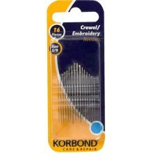 Pack Of 16 Crewel Embroidery Needles - Korbond 16pcs Pieces Care Repair New -  korbond crewel embroidery needles 16pcs pieces care repair new 110241