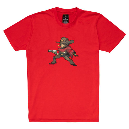 OVERWATCH McCree Pixel T-Shirt, Unisex, Extra Extra Large, Red (TS002OW-2XL)