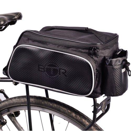 BTR Rear Rack Pannier BIke Bag - Black - With Option Of Waterproof Rain Cover. Universal Fitting Cycling Rear Rack Bicycle Bag