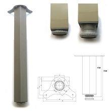 2 x 710mm Aluminium Breakfast Bar Worktop Support Table Leg Square 65mm Diameter