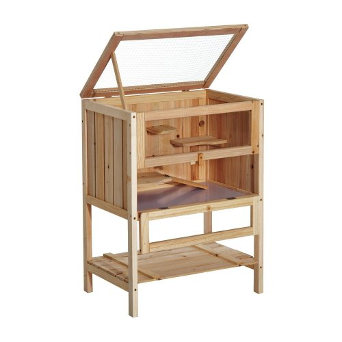 PawHut Wooden Hamster House | Large Wooden Hamster Cage