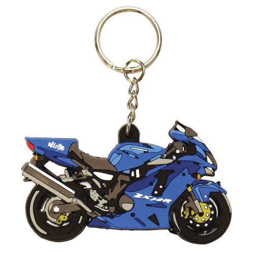 Kawsaki ZX 12 R rubber key ring motorcycle gift keyring blue ZX12R