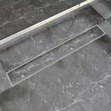 vidaXL Linear Shower Drain 830x140 mm Stainless Steel