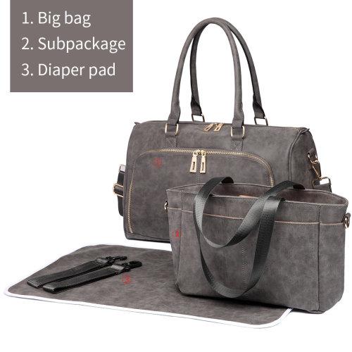 Miss Lulu 3pcs PU Leather Baby Diaper Nappy Changing Bag Set Grey