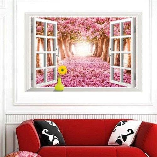 3D Window Sakura View Removable Wall Sticker Art Decal Mural Home Decor