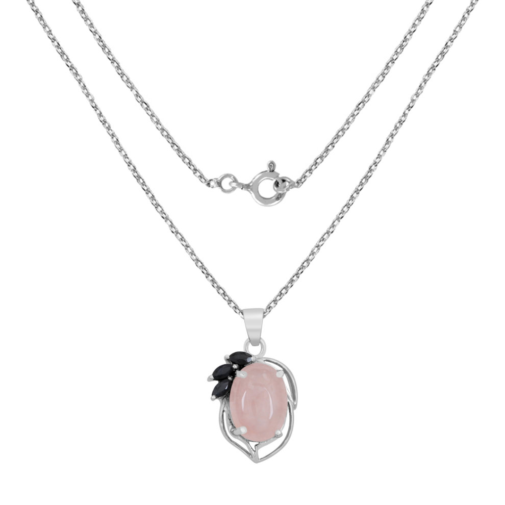 fab7ac6a3 ... 12.6 Ct Rose Quartz and Sapphire Pendant By Orchid Jewelry Rose Quartz  Jewellery Rose Quartz Pendant ...