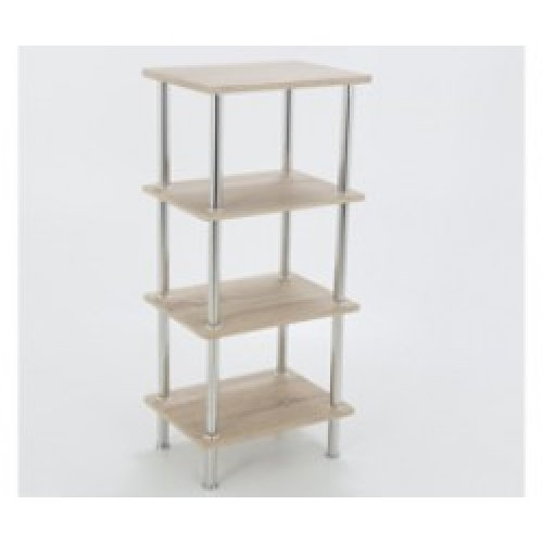 King Whitewashed Oak Effect 4 Tier Modern Organisation Rack, Shelving Shelf Unit