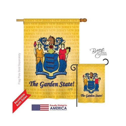 Breeze Decor 08086 States New Jersey 2-Sided Vertical Impression House Flag - 28 x 40 in.