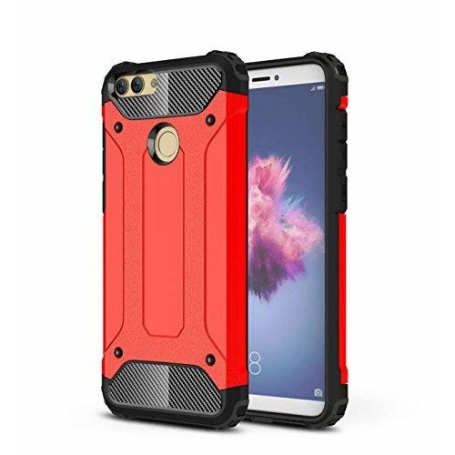 hot sale online ef990 97c49 Huawei P Smart Case,SMTR Hybrid Armor Case Detachable 2 in 1 Shockproof  Tough Rugged Dual-Layer Case Cover for Huawei P Smart - red